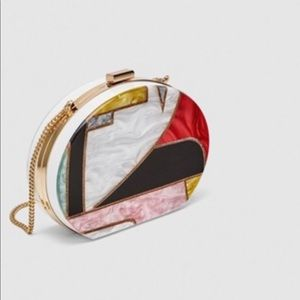 Zara Geometric Mother Of Pearl Clasp Box Clutch